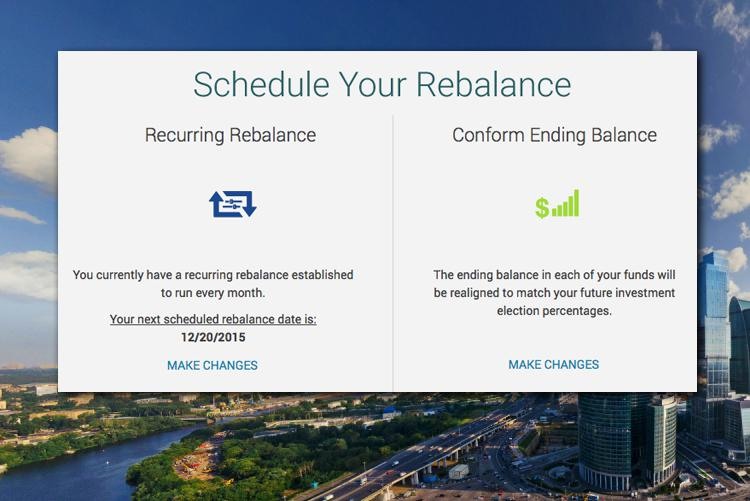 Employees have the ability to schedule one-time or recurring rebalances on their investments.